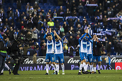December 22, 2017 - Barcelona, Spain - BARCELONA, SPAIN - DECEMBER 22: RCD Espanyol players celebrating the victory during the match of La Liga Santander between RCD Espanyol v Atletico de Madrid, at RCD Stadium in Barcelona on 22 of December, 2017. (Credit Image: © Xavier Bonilla/NurPhoto via ZUMA Press)