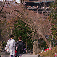 """The main hall, or hondo, at Kiyomizu-dera in Kyoto, Japan, was constructed without nails and its stage rises 42.5 feet above the valley floor (right). In Japan, the phrase, """"To jump off the stage of Kiyomizu,"""" means that a person has the courage to make a big decision."""