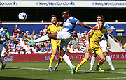 Nedum Onuoha (QPR defender) spurning another QPR opportunity to score during the Sky Bet Championship match between Queens Park Rangers and Rotherham United at the Loftus Road Stadium, London, England on 22 August 2015. Photo by Matthew Redman.