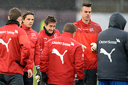 04.03.2014, AFG Arena, St. Gallen, SUI, Training der Schweizer Nationalmannschaft, vor dem Testspiel gegen Kroatien, im Bild Yann Sommer, Mario Gavranovic, Diego Benaglio (SUI) // during a practice session of swiss national football team prior to the international frindley against Croatia at the AFG Arena in St. Gallen, Switzerland on 2014/03/04. EXPA Pictures © 2014, PhotoCredit: EXPA/ Freshfocus/ Andy Mueller<br /> <br /> *****ATTENTION - for AUT, SLO, CRO, SRB, BIH, MAZ only*****