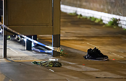 © Licensed to London News Pictures. 09/03/2019. London, UK. A pair of trainers and medical equipment lie on the floor at the scene on Colney Hatch Lane, North London after 19 year old man was stabbed in the chest onboard a bus. The victim is in a life threatening condition. Photo credit: Ben Cawthra/LNP