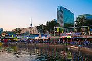 Copa Cagrana - Sunken City, Donauinsel, Wien, Österreich .|.Copa Cagrana - Sunken City, Danube at dusk, Vienna, Austria..