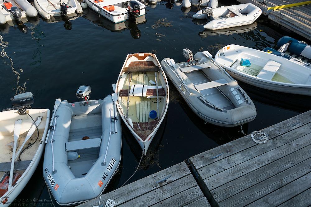 Small boats docked at public harbor, Castine, Maine, USA