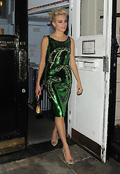 Pixie Lott wearing a green sequins dress attends the afterparty of Breakfast at Tiffany's press night in London. UK. 26/07/2016<br />BYLINE MUST READ : GOTCHAIMAGES.COM<br /><br />Copyright by © Gotcha Images Ltd. All rights reserved.<br />Usage of this image is conditional upon the acceptance <br />of Gotcha Images Ltd, terms and conditions available at<br />www.gotchaimages.com