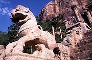 "The ruins at Yapahuwa with the stone steps and the 'Yapahuwa Lion""."