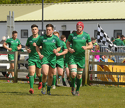 Ballinrobe&rsquo;s Daniel Keane, Tom Staunton and Rob Holian lead out Connacht juniors before the interprovincial clash against Leinster at the Green Ballinrobe on saturday last.<br /> Pic Conor McKeown