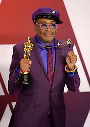 "Spike Lee, winner of the Best Adapted Screenplay Award for ""BlacKkKlansman"" at the 91st Annual Academy Awards"