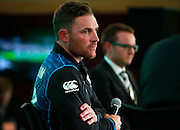 Brendon McCullum Black Caps captain and Mike Hesson Black Caps coach during a media conference following the Black Caps Cricket World Cup team naming held in the Hagley Pavillion in Christchurch. 8 January 2015 Photo: Joseph Johnson / www.photosport.co.nz