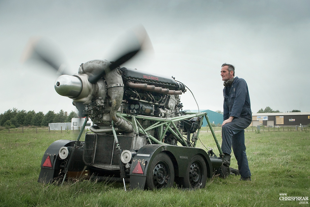 Peter Grieve and his mobile Merlin Engine.
