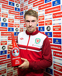 11.10.2013, City Stadion, Cardiff, WAL, FIFA WM Qualifikation, Wales vs Mazedonien, Gruppe A, im Bild Wales' man-of-the-match captain Aaron Ramsey after the FIFA World Cup Qualifier Group A Match between Wales and Macedonia at the City Stadium, Cardiff, Wales on 2013/10/11. EXPA Pictures © 2013, PhotoCredit: EXPA/ Propagandaphoto/ David Rawcliffe<br /> <br /> ***** ATTENTION - OUT OF ENG, GBR, UK *****