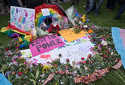 © Licensed to London News Pictures.14/06/2016. Bristol, UK.  Bristol Rainbow vigil for those killed and injured in the Orlando shooting in Florida, USA. About 1000 people gather on Bristol's College Green, including organisations Stand Against Racism & Inequality (SARI); Bristol Hate Crime Services; Bristol and other South West based Prides; Out Bristol; LGBT Bristol; Diversity Trust; Police LGBT Liaison; Bristol City Council. Afterwards people lit candles in Bristol Cathedral. Photo credit : Simon Chapman/LNP