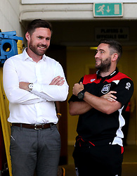 Scunthorpe United manager Graham Alexander and Bristol City head coach Lee Johnson talk ahead of the EFL Cup match between their two sides - Mandatory by-line: Robbie Stephenson/JMP - 23/08/2016 - FOOTBALL - Glanford Park - Scunthorpe, England - Scunthorpe United v Bristol City - EFL Cup second round