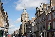 Town Hall building main shopping street, Hawick, Roxburghshire, Scotland, UK