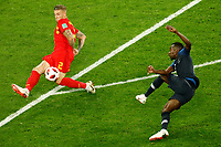 SAINT PETERSBURG, RUSSIA - JULY 10: Blaise Matuidi (R) of France national team shoots on goal as Toby Alderweireld of Belgium national team defends during the 2018 FIFA World Cup Russia Semi Final match between France and Belgium at Saint Petersburg Stadium on July 10, 2018 in Saint Petersburg, Russia. MB Media