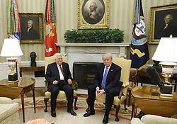 May 3, 2017 - Washington, District of Columbia, United States of America - United States President Donald J Trump meets with President Mahmoud Abbas of the Palestinian Authority in the Oval Office of the White House in Washington, DC, on May 3, 2017. .Credit: Olivier Douliery / Pool via CNP (Credit Image: © Olivier Douliery/CNP via ZUMA Wire)