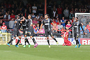 Mansfield celebrate Mansfield Town forward Matt Green's goal for the away side to take the lead  during the Sky Bet League 2 match between York City and Mansfield Town at Bootham Crescent, York, England on 29 August 2015. Photo by Simon Davies.