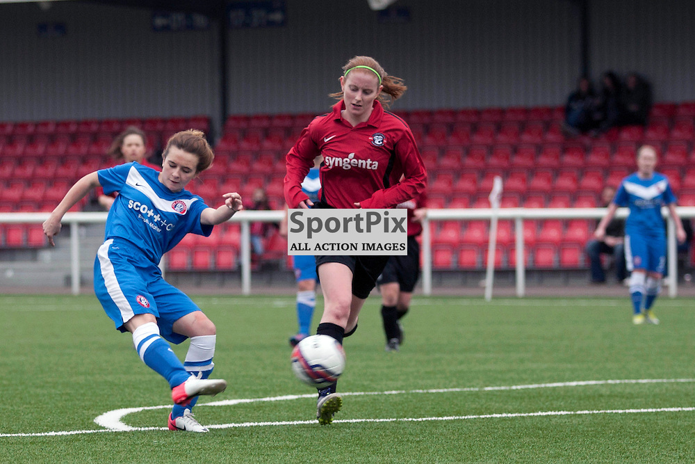 Ellis Jenkins (Spartans 18) hits the bar with this shot. Spartans v Falkirk Scottish Women's Premier League Cup Round 1 03 March 2013 (c) Russell Sneddon | StockPix.eu