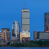 Boston skyline photography showing the Prudential Center, Sheraton Hotel Boston, 111 Huntington Avenue and the newly constructed One Dalton Tower office buildings and Four Season Hotel at twilight. <br /> <br /> This Boston skyline photography images are available as museum quality photography prints, canvas prints, acrylic prints or metal prints. Prints may be framed and matted to the individual liking and decorating needs: <br /> <br /> https://juergen-roth.pixels.com/featured/boston-four-season-hotel-at-one-dalton-juergen-roth.html<br /> <br /> Good light and happy photo making!
