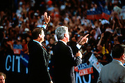 CHICAGO, IL - August 29: US President Bill Clinton with Vice President Al Gore wave during a campaign rally after accepting the nomination for the democrat party at the 1996 Democratic National Convention August 29, 1996 in Chicago, IL.     (Photo Richard Ellis)