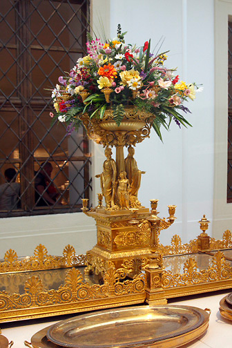 Milan Centerpiece; 1838; gold; allegorical figures; candelabra; flowers; Silver Collection, Hofburg Palace; Vienna; Austria; Wien