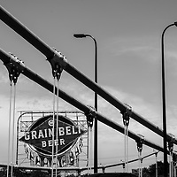 Grain Belt Beer sign and bridge architecture photo in black and white