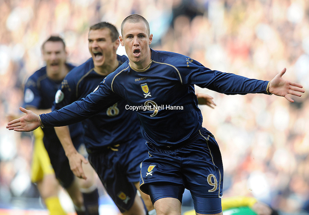Hampden Park Glasgow 13.10.07.UEFA Euro 2008 Qualifier.Scotland v Ukraine.Kenny Miller gave Scotland the perfect start, scoring after 4 minutes.Pic Neil Hanna.