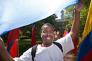 Spring Int. Week..Abdinasir Mohamud holds a flag from Somalia, his home country