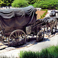Bronze of Wagon Train at Pioneer Courage Park in Omaha, Nebraska<br />