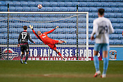 Coventry City shot flies over the bar while Morecambe  goalkeeper Barry Roche (1)  attempts to get to it during the The FA Cup match between Coventry City and Morecambe at the Ricoh Arena, Coventry, England on 15 November 2016. Photo by Simon Davies.