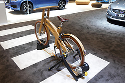 11 February 2016: Volvo wooden bicycle.<br /> <br /> First staged in 1901, the Chicago Auto Show is the largest auto show in North America and has been held more times than any other auto exposition on the continent.  It has been  presented by the Chicago Automobile Trade Association (CATA) since 1935.  It is held at McCormick Place, Chicago Illinois<br /> #CAS16