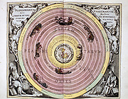 Ptolemaic,  Geocentric, Earth-centred system of universe, showing Earth surrounded by water air and fire (4 Greek elements) and the spheres of the planets and stars. From Andreas Cellarius 'Harmonia Macrocosmica' Amsterdam, 1708.