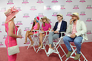 "Grace Wainright, fashion blogger, Ashley Williams, style editor at Southern Living, Jeffrey Tousey, of Vanity Fair, and chef Jeremy Ford, winner ""Top Chef"" season 13, left to right, judge the Longines Kentucky Oaks Day fashion contest at the Kentucky Derby where ladies showcased their ensembles for the chance to win an elegant Longines timepiece, Friday, May 6, 2016 in Louisville, KY. Longines, the Swiss watch manufacturer known for its luxury timepieces, is the Official Watch and Timekeeper of the 142nd annual Kentucky Derby. (Photo by Diane Bondareff for Longines/AP Images)"