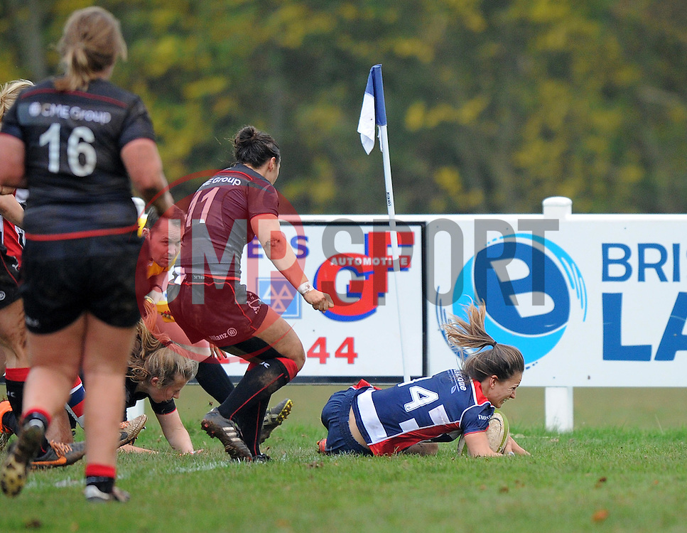 Jasmine Joyce of Bristol Ladies scores her second try against Saracens Women - Mandatory by-line: Paul Knight/JMP - 30/10/2016 - RUGBY - Cleve RFC - Bristol, England - Bristol Ladies v Saracens Women - RFU Women's Premiership