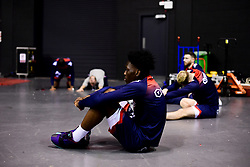 Marvin Dinnall of Bristol Flyers prepares in the warm up area prior to tip off - Photo mandatory by-line: Ryan Hiscott/JMP - 26/01/2020 - BASKETBALL - Arena Birmingham - Birmingham, England - Bristol Flyers v Worcester Wolves - British Basketball League Cup Final