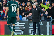 Roy Hodgson, Manager of Crystal Palace FC  calming down players after awarding a yellow card to Joelinton Apolinarion De Lira (Newcastle United) during the Premier League match between Crystal Palace and Newcastle United at Selhurst Park, London, England on 22 February 2020.