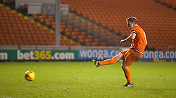 BLACKPOOL, ENGLAND - Wednesday, December 18, 2013: Blackpool's captain Sam Staunton-Turner scores his side's fifth penalty of the shoot-out against Liverpool to make the score 3-3 during the FA Youth Cup 3rd Round match at Bloomfield Road. (Pic by David Rawcliffe/Propaganda)