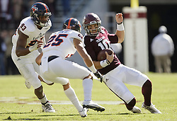 Texas A&M quarterback Jake Hubenak (10) beings to slide before being hit by UTSA safety Carl Austin III (25) during the first quarter of an NCAA college football game Saturday, Nov. 19, 2016, in College Station, Texas. Austin was ejected on the play for a targeting call. (AP Photo/Sam Craft)