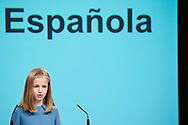 Crown Princess Leonor attends the reading of the Spanish Constitution in occasion of the 40th anniversary of its approval by the Congress at the Cervantes Institute on October 31, 2018 in Madrid, Spain