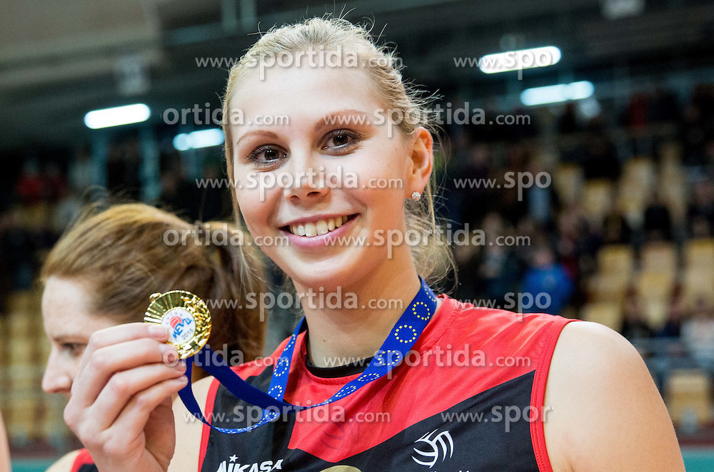 Mihela Planinsec of OK Nova KBM Branik celebrate after winning during final match of MEVZA League 2014/15 against Calcit Volley, on February 20, 2015 in Dvorana Lukna, Maribor, Slovenia. Photo by Vid Ponikvar / Sportida