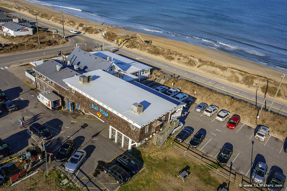 The Black Pelican Restaurant in Kitty Hawk NC, photograph from the sky.