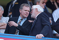 Chelsea Chairman Ken Bates (right) chats with out going Chief Executive Trevor Birch who is being replaced by Peter Kenyon from Manchetser United.  Chelsea v Tottenham Hotspur, FA Premiership, 13/09/2003. Credit: Colorsport / Matthew Impey DIGITAL FILE ONLY
