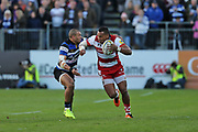 Gloucester wing David Halaifonua (11) carrying the ball during the Aviva Premiership match between Bath Rugby and Gloucester Rugby at the Recreation Ground, Bath, United Kingdom on 29 October 2017. Photo by Gary Learmonth.