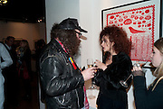 ROB RYAN; HELENA BONHAM-CARTER; ; , Lulu Guinness And Rob Ryan Fan Bag - Launch Party. Air Gallery. London. 10 November 2010.  -DO NOT ARCHIVE-© Copyright Photograph by Dafydd Jones. 248 Clapham Rd. London SW9 0PZ. Tel 0207 820 0771. www.dafjones.com.
