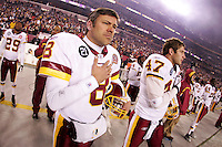 06 December 2007: Quarterback Mark Brunell  of the Washington Redskins holds his hand over his heart during the National Anthem before the Redskins 24-16 victory over the Chicago Bears at Fed Ex Field in Landover, Maryland.