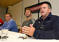 """(L-R) Swiss Swimming National Head Coach Guennadi Touretski, swimmer Ian THORPE of Australia and Australian Swimming National Head Coach Leigh Nugent are pictured during a press confercene held at the Centro sportivo nazionale della gioventu (""""youth and sports""""-Centre) in Tenero, Switzerland, Wednesday, March 16, 2011. Five-time Olympic gold medallist Ian Thorpe has finalised his coaching set-up ahead of next year's London Olympic Games, announcing today that he will link up with former Australian Institute of Sport Coach and Russian born Gennadi Touretski in Switzerland. (Photo by Patrick B. Kraemer / MAGICPBK)"""