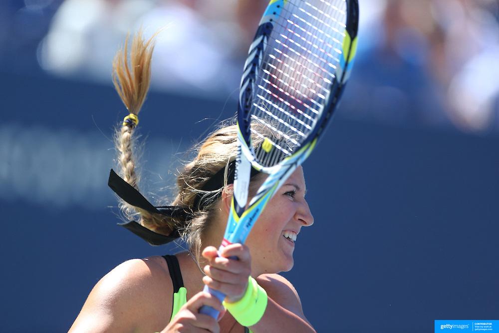 Victoria Azarenka, Belarus, in action against Kirsten Flipkens, Belgium, during the US Open Tennis Tournament, Flushing, New York. USA. 29th August 2012. Photo Tim Clayton