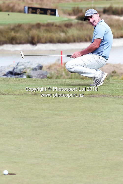 Matthew Millar (ACT) putt just misses on the 18th hole.<br /> NZ Rebel Sports Masters, Wainui Golf Club, Wainui, Auckland, New Zealand. 14 January 2018. &copy; Copyright Image: Marc Shannon / www.photosport.nz.