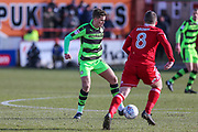 Forest Green Rovers Charlie Cooper(15) on the ball during the EFL Sky Bet League 2 match between Accrington Stanley and Forest Green Rovers at the Wham Stadium, Accrington, England on 17 March 2018. Picture by Shane Healey.
