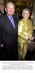 LORD & LADY KELVERDON at a party in London on 18th October 2001.			OTE  38
