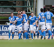 St Johnstone&rsquo;s Paul Paton is congratulated after heading his side into the lead - St Johnstone v Dundee in the Ladbrokes Scottish Premiership at McDiarmid Park, Perth: Picture &copy; David Young<br /> <br />  - &copy; David Young - www.davidyoungphoto.co.uk - email: davidyoungphoto@gmail.com